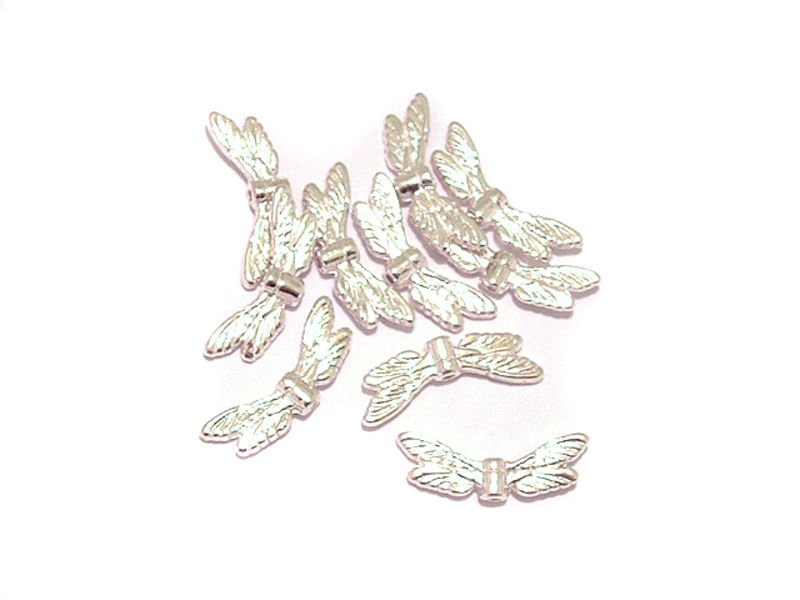 10 Dragonfly Wings Antique Silver Colour