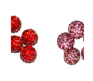 Red and Pink-Diamontie Ball 10mm (shamballa style)