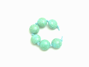 6 Acrylic Turquoise Cushion Beads