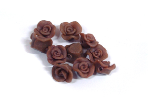 Brown Small Flower Fimo Style Beads