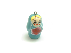 Wooden Doll Pendant Green