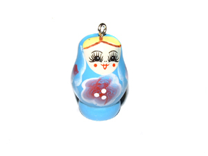 Wooden Doll Pendant Blue